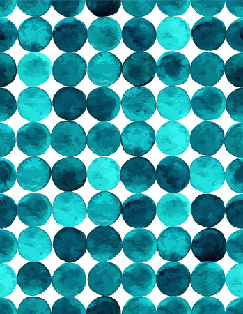 circles: Watercolor seamless pattern with emerald circles. Green circles abstract background. Illustration