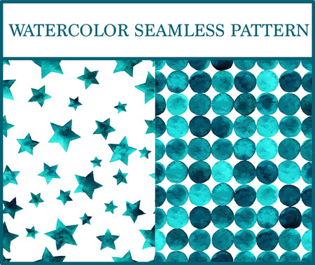 emerald: Watercolor seamless patterns set with emerald circles and stars. Green triangles and stars abstract background.