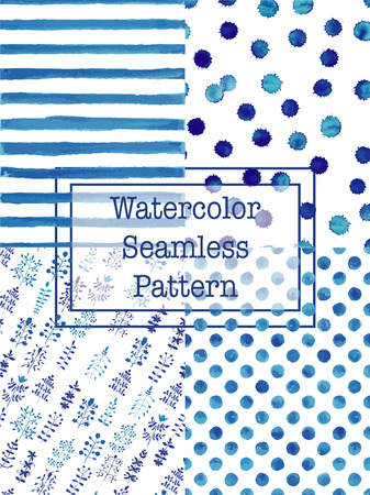 Set of watercolor seamless patterns blue color. Polka dot, flowers / herbs, splashes, stripes seamless watercolor pattern for scrapbook or textile print.