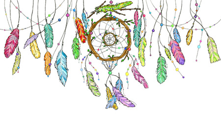 Hand drawn dream catcher from tree branches decorated with beads and with ornamental bright colorful feathers swinging in the wind. Sketch illustration for print or tattoo Illustration