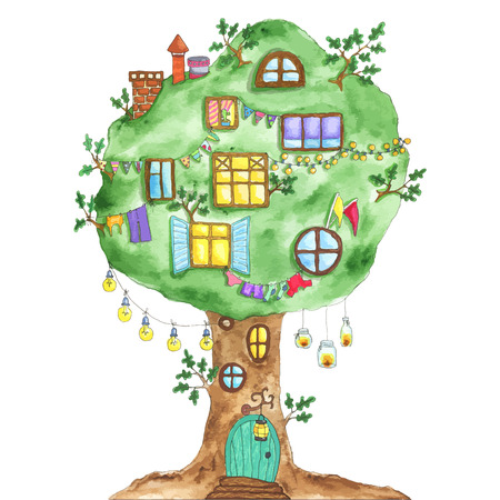 Watercolor fairytale oak tree with windows, garlands, lamps, flags. Fairy green tree with door and windows.