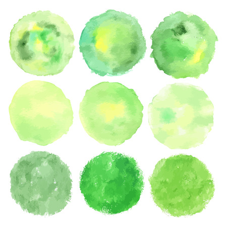 Set of watercolor green .Leaves, badges,lettering,branches wreath,plants elements,laurels.  painting.Sign label,textured emblem set.Eco friendly,natural, product,organic design template.