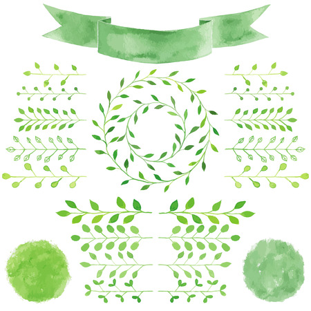 Watercolor badges and laurel leaves set. Circle green wreath of laurel leaves. Green  branches, twigs with leaves.  ribbon, spots, splashes, badges, squares, label,textured emblem set.