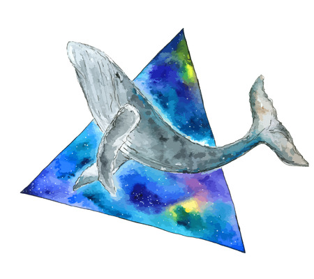 Watercolor whale in space triangle. Hand drawn vector illustration.