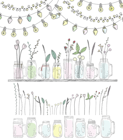 mason: Set of bottles with plants and flowers. Jars for smoothies and lemonades.  Garlands with lamps and flags. Used elements included. Scandinavian style.
