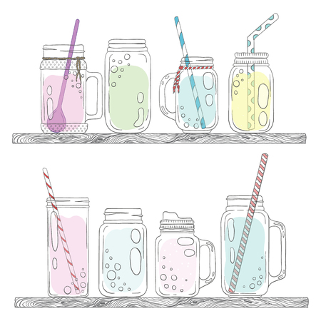 mason: Jars for smoothies and lemonades. Scandinavian style set. Used elements included.