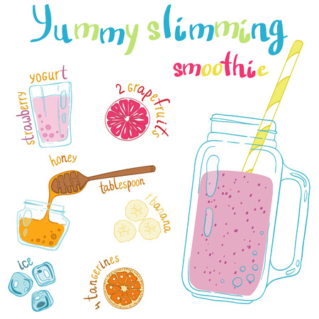 grapefruits: Recipe illustration smoothie (cocktail) with grapefruits, strawberry yogurt, ice, honey, bananas, tangerines. Vector hand drawn illustration for recipe books, magazines, menu. Scandinavian style Illustration