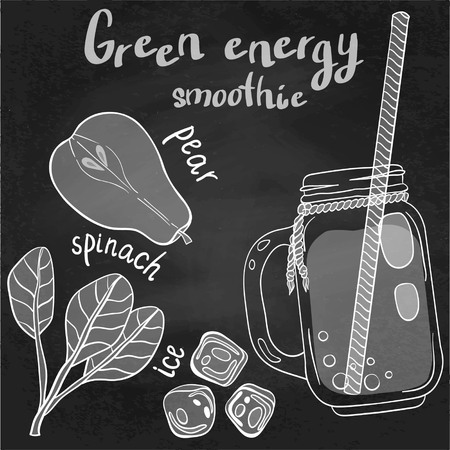spinach: Recipe illustration smoothie (cocktail) with pear, spinach, ice. Vector hand drawn illustration for recipe books, magazines, cafe, restaurant menu, cards, flyers. Scandinavian style