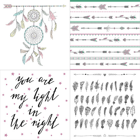 Set Of Boho Style Illustrations Patterns Letterimg Dream Catcher Awesome Dream Catcher Words