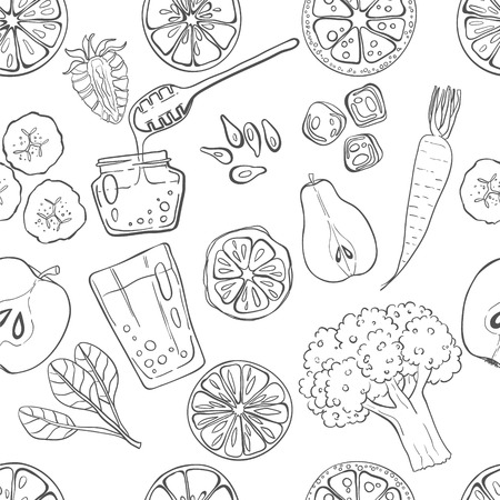 fruit and veg: Seamless pattern with set of fresh hand drawn fruits and vegetables and products. Eco healthy food.