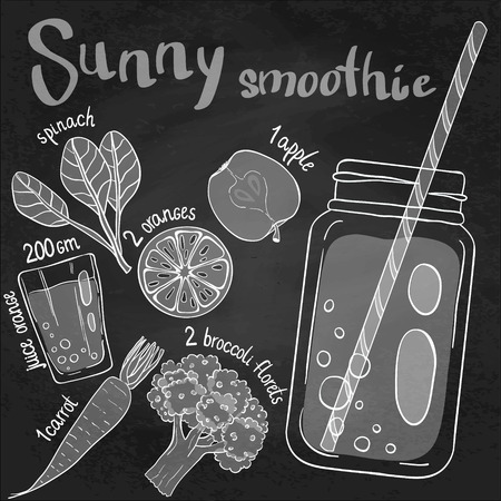 apples and oranges: Recipe illustration smoothie (cocktail) with spinach, oranges, apples, orange juice, broccoli, carrots. Vector hand drawn illustration for recipe books, magazines, menu. Scandinavian style Illustration