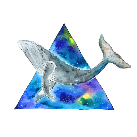 diving save: Watercolor whale in space triangle. Hand drawn vector illustration.