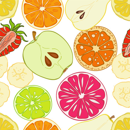 Seamless pattern with set of fresh hand drawn fruits and vegetables and products. Eco healthy food.