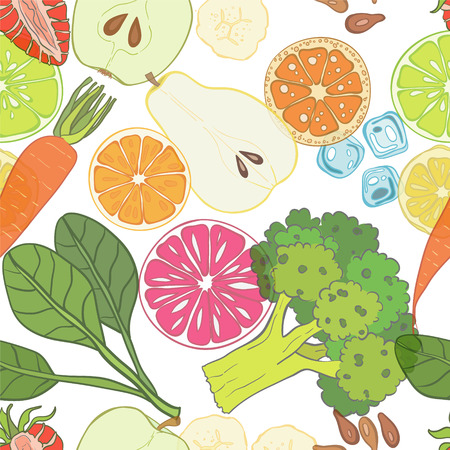 veggies: Seamless pattern with set of fresh hand drawn fruits and vegetables and products. Eco healthy food.