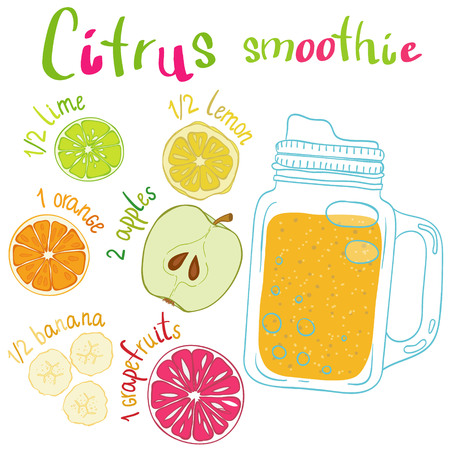 Recipe illustration smoothie (cocktail) with lime, lemon, orange, apple, banana, grapefruit. Vector hand drawn illustration for recipe books, magazines, menu. Scandinavian style Illustration