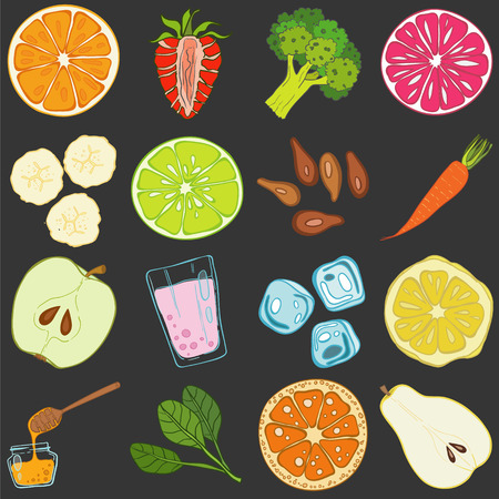 fruit and veg: Set of fresh hand drawn fruits and vegetables and products. Eco healthy food. Illustration