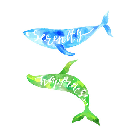 Whales with lettering Serenity and Happiness. Watercolor hand drawn illustration.