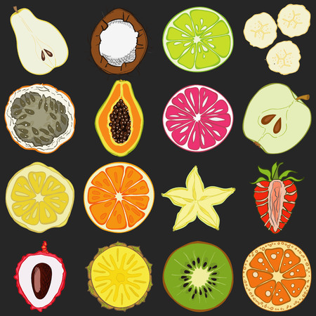 Set of fresh hand drawn fruits and vegetables and products. Eco healthy food. Illustration