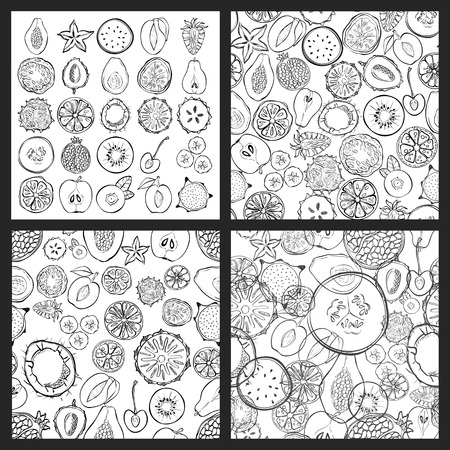 fruit and veg: Set of seamless patterns with exotic fresh fruits. Eco healthy food and products. Illustration