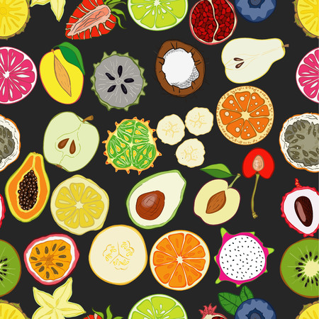 Seamless pattern with exotic fresh fruits. Eco healthy food and products.