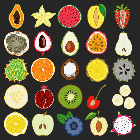 exotic fruits: Set of fresh hand drawn exotic fruits and products. Eco healthy food.