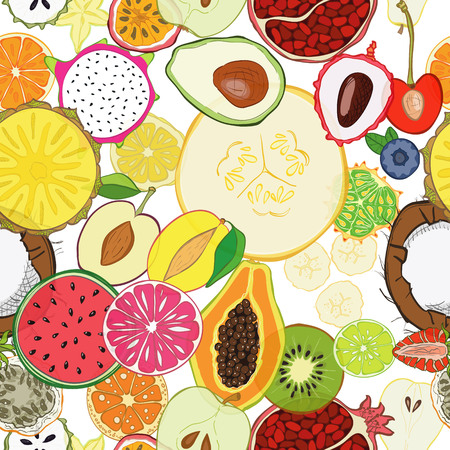 veg: Seamless pattern with exotic fresh fruits. Eco healthy food and products.