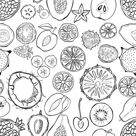 veggies: Seamless pattern with exotic fresh fruits. Eco healthy food and products.