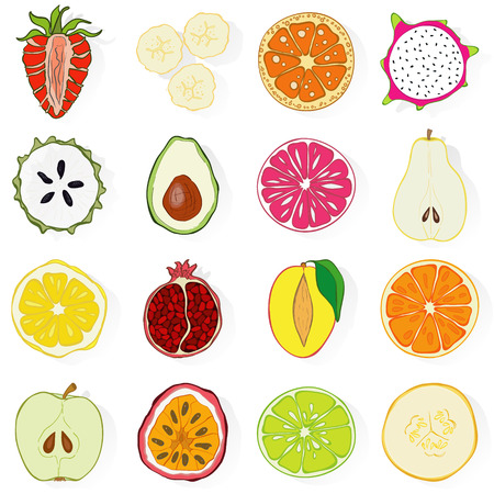 fruit and veg: Set of fresh hand drawn exotic fruits and products. Eco healthy food.