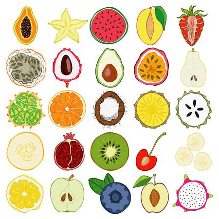 Ensemble de fruits exotiques frais dessinés à la main et des produits. Eco nourriture saine.
