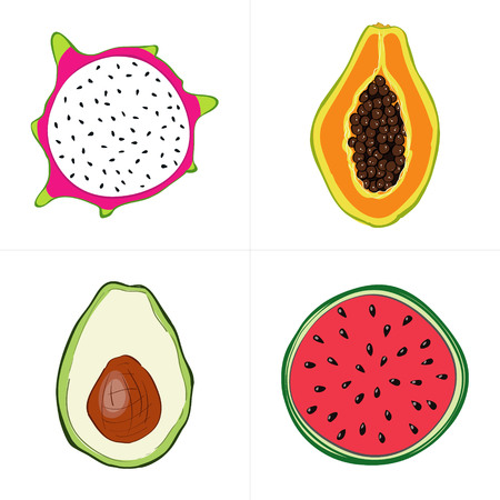 veggies: Set of fresh hand drawn fruits and vegetables and products. Eco healthy food. Illustration
