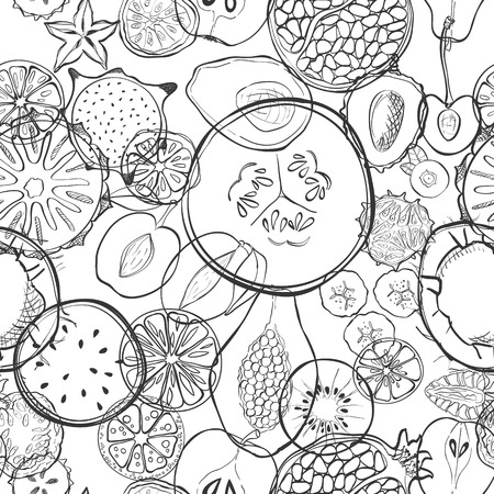 fruit and veg: Seamless pattern with exotic fresh fruits. Eco healthy food and products.
