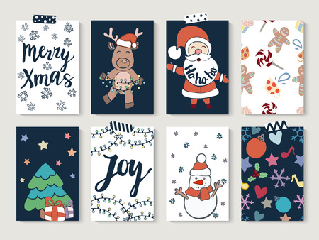 christmas and happy new year cards set set of greeting cards for winter holidays