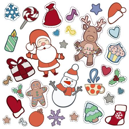 Noël et Happy New Year patch badges avec Santa, Deer, Snowman, Fir-tree et autres symboles de vacances. Illustrations de doodle vectoriel isolées sur fond bleu. Banque d'images - 64818127