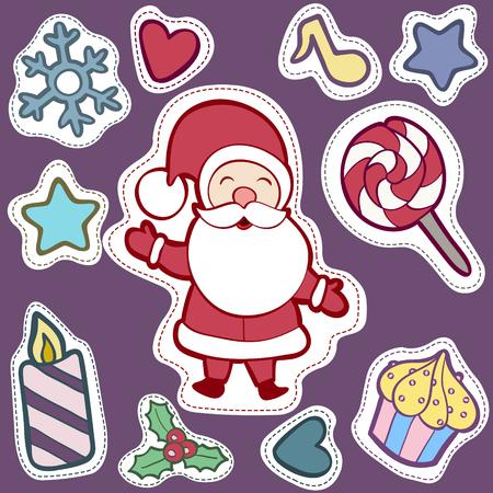 Noël et Happy New Year patch badges avec Santa, Deer, Snowman, Fir-tree et autres symboles de vacances. Banque d'images - 64818132