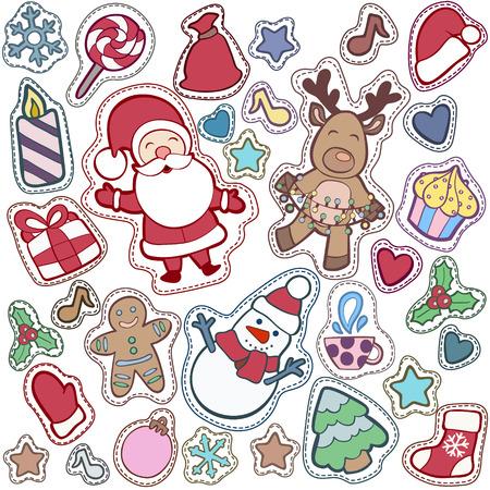 Noël et Happy New Year patch badges avec Santa, Deer, Snowman, Fir-tree et autres symboles de vacances. Banque d'images - 64818204
