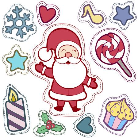 Noël et Happy New Year patch badges avec Santa, Deer, Snowman, Fir-tree et autres symboles de vacances. Banque d'images - 64818205