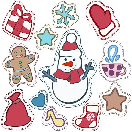 Noël et Happy New Year patch badges avec Santa, Deer, Snowman, Fir-tree et autres symboles de vacances. Banque d'images - 64818224