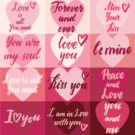 colorful grunge: Grungy handwritten lettering set with Happy Valentines Day. Calligraphy hand drawn vector card.