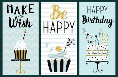 De gelukkige die kaarten van de Verjaardagspartij met cake, cupcake, topper, kaarsen en van letters voorziende teksten worden geplaatst. hand getrokken illustratie. Stock Illustratie