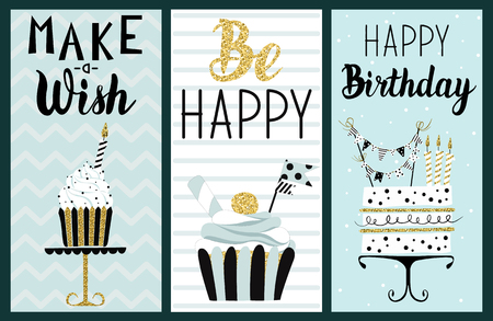 Happy Birthday Party cards set with cake, cupcake, topper, candles and lettering text. hand drawn illustration. Ilustração
