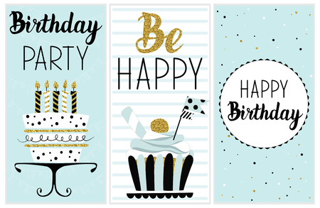 Happy Birthday Party cards set with cake, cupcake, topper, candles and lettering text. Illustration