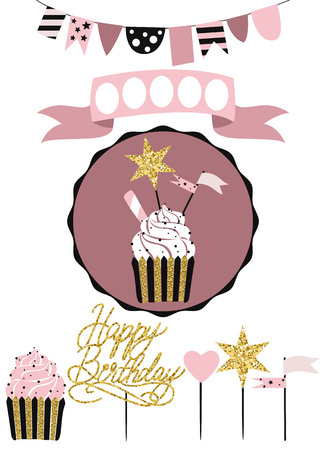topper: Celebratory cake with set of decoration, toppers, candles and garlands with flags. Vector hand drawn illustration, scandinavian style in pink colors with gold glittering elements.