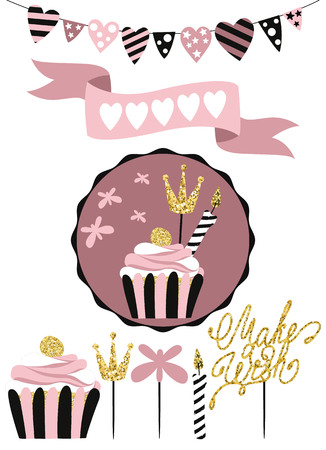 Celebratory cake with set of decoration, toppers, candles and garlands with flags. Vector hand drawn illustration, scandinavian style in pink colors with gold glittering elements.