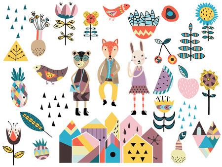 귀여운 스칸디나비아 스타일의 요소와 동물의 집합입니다. 손 벡터 일러스트를 그려.