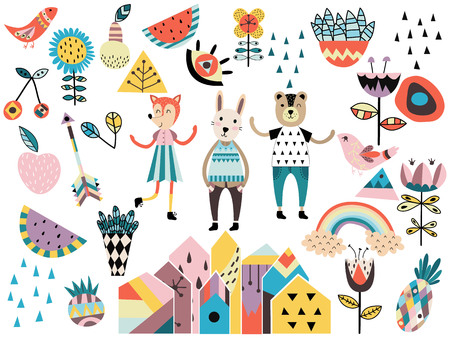 Set of cute scandinavian style elements and animals. Hand drawn vector illustration. Ilustrace