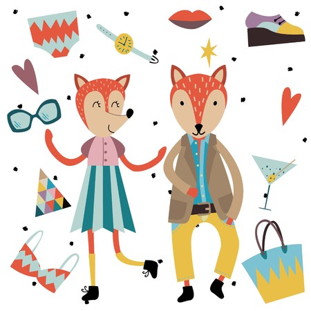 Set of cute fashion animals and fashion elements and accessories. Hand drawn vector illustration in scandinavian style.