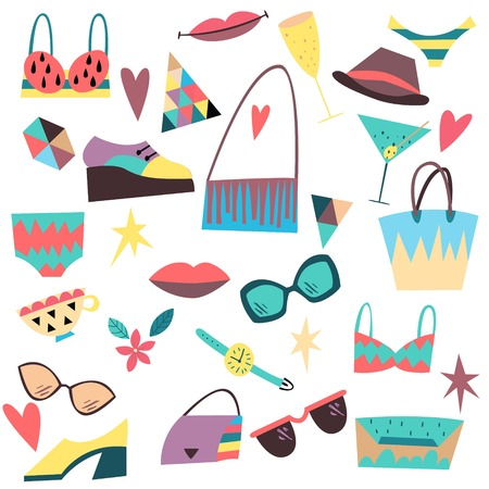 Set of fashion elements, accessories, clothes. Hand drawn scandinavian style vector illustration.