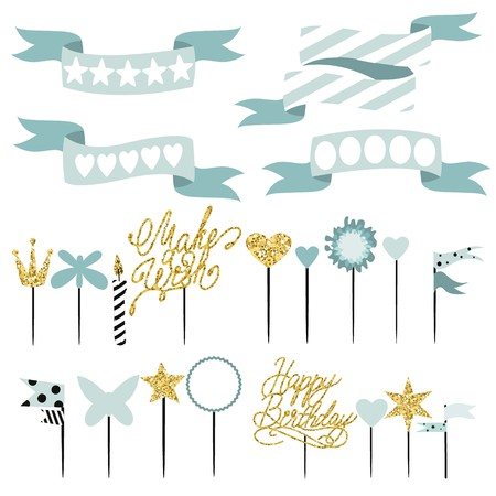 Set of decoration, toppers, candles and garlands with flags. Vector hand drawn illustration, scandinavian style in mint colors with gold glittering elements