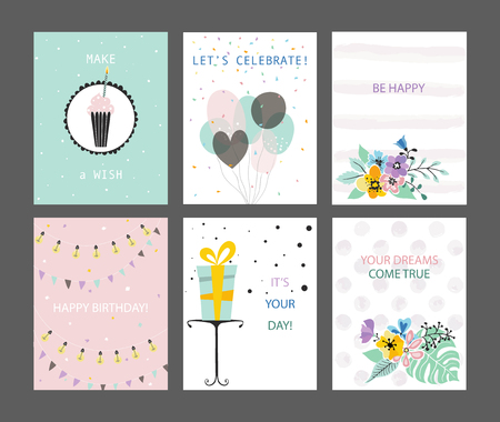 cute cards: Happy Birthday cards set. Greeting, congratulations postcards templates. Tender, pastel colors. Vector hand drawing illustration Illustration