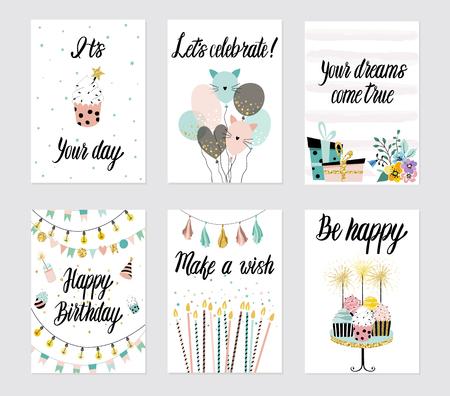 De gelukkige die kaarten van de Verjaardagspartij met cake, cupcake, topper, kaarsen en van letters voorziende teksten worden geplaatst. Vector hand getrokken illustratie.